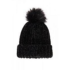 Quiz - Black chenille knit pom hat