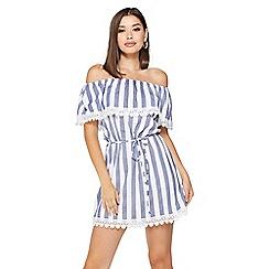 Quiz - Blue and white stripe bardot dress