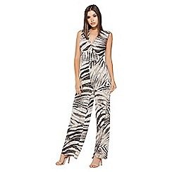 Quiz - Stone and black snake print wrap jumpsuit