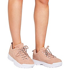 Quiz - Blush pink lace up chunky trainers