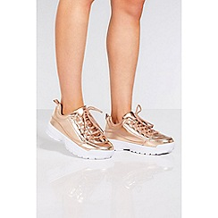 Quiz - Rose gold lace up chunky trainers