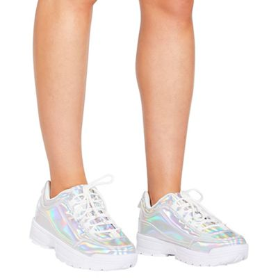 Quiz - Iridesent lace up chunky trainers