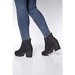 Quiz - Wide fit black chunky heel ankle boot