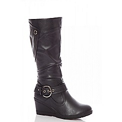 Quiz - Black buckle wedge calf boots