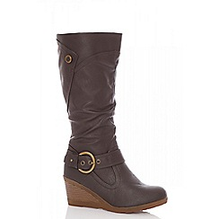 Quiz - Brown buckle wedge calf boots