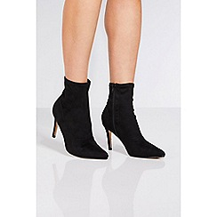 Quiz - Black faux suede pointed toe sock boots