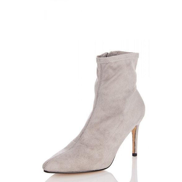 Quiz pointed toe boots Grey sock suede faux Pw4vqR8