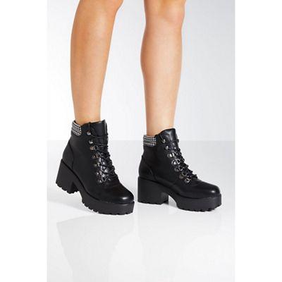 Quiz Black Chunky Heel Hiker Boots
