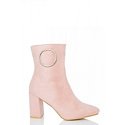 Quiz - Pale pink ring detail heel ankle boots