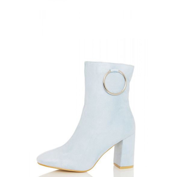 ankle Pale boots detail Quiz ring blue heel Ud7qXw