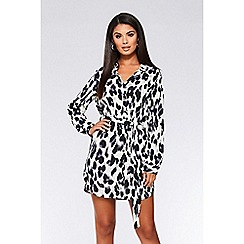 Quiz - Cream black and grey leopard print shirt dress