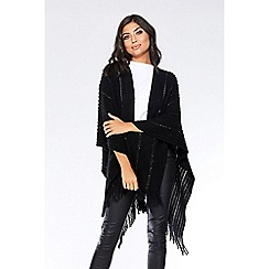 Quiz - Black sequin knit wrap