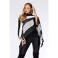 Quiz - Grey stripe fringe poncho