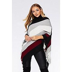 Quiz - Wine stripe cowl neck poncho
