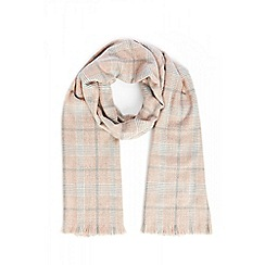 Quiz - Pink check knit scarf