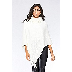 Quiz - Cream pearl trim fringe poncho