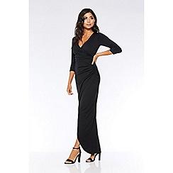 Quiz - Black wrap 3/4 sleeve maxi dress