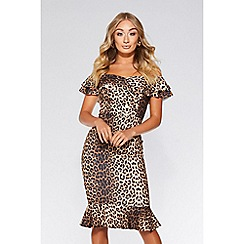 Quiz - Leopard print bardot frill hem dress