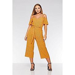 Quiz - Mustard polka dot culotte jumpsuit