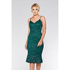 Quiz - Bottle green lace sequin frill hem midi dress