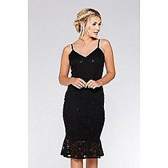 Quiz - Black lace sequin frill hem midi dress