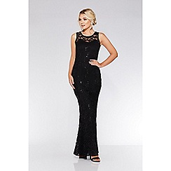 Quiz - Black lace sequin fishtail maxi dress