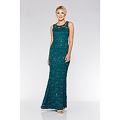 Quiz - Bottle green lace sequin fishtail maxi dress