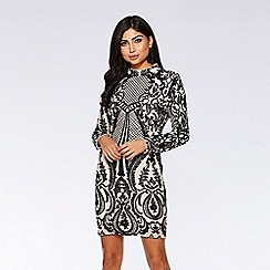 Quiz - Nude and black sequin embellished turtle neck bodycon dress