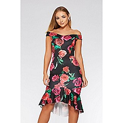 Quiz - Black red and pink floral dip hem dress