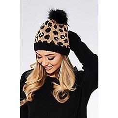Quiz - Leopard print pom knit hat