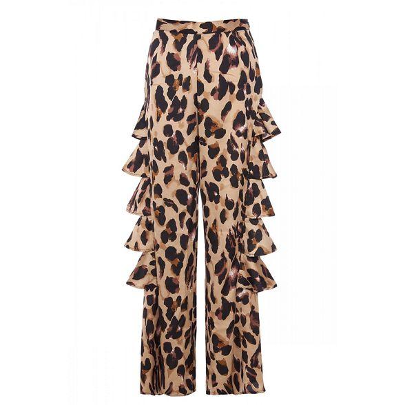Quiz frill Olivia's leopard print trousers side q1rqvUwa