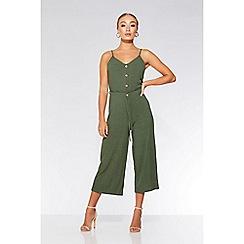 Quiz - Khaki button culotte jumpsuit