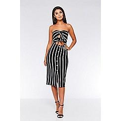 Quiz - Black and cream stripe button midi dress