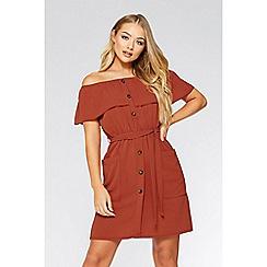 Quiz - Rust bardot tunic button dress