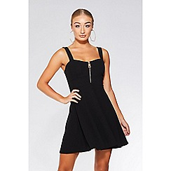 Quiz - Black zip front skater dress