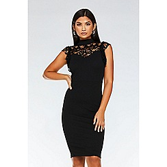 Quiz - Black lace frill high neck dress