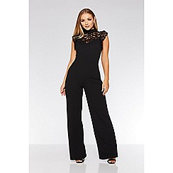 Quiz - Black lace frill high neck palazzo jumpsuit