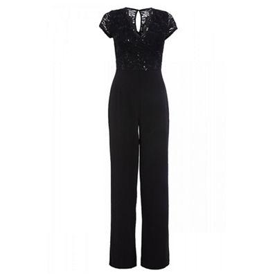 4457279d56bc Quiz Black sequin lace wide leg jumpsuit