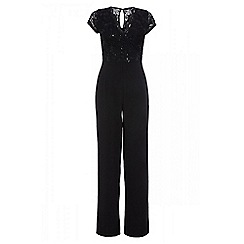 Quiz - Black sequin lace wide leg jumpsuit