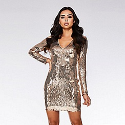 Quiz - Rose gold sequin bodycon dress