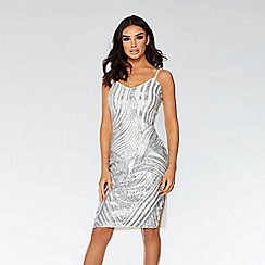 Quiz - White and silver swirl strappy knee length dress