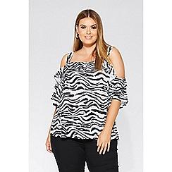 Quiz - Curve black and grey zebra print cold shoulder top
