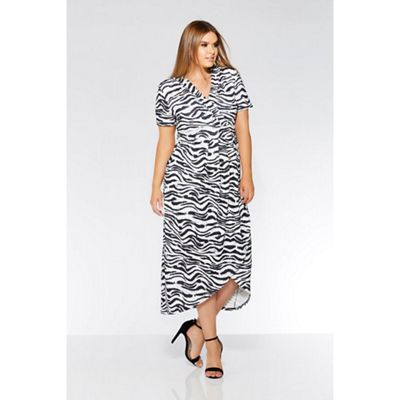 7d04bd2b1a Quiz Curve grey and black zebra print wrap dress