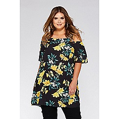 Quiz - Curve black and yellow floral cold shoulder tunic dress