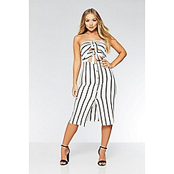 Quiz - Cream and black stripe button midi dress