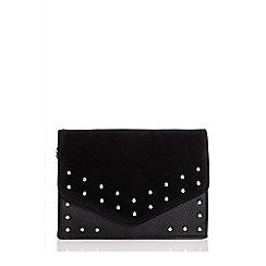 Quiz - Black faux suede stud bag