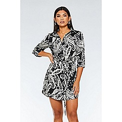 Quiz - Black And White Satin Paisley Print Shirt Dress