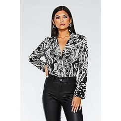 Quiz - Black And White Satin Paisley Print Bodysuit