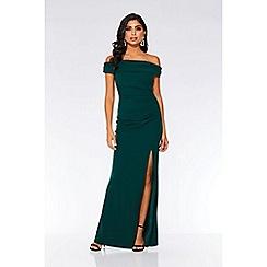 Quiz - Bottle green Bardot ruched fishtail maxi dress