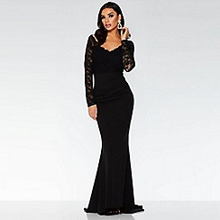 Quiz - Black lace long sleeve fishtail maxi dress